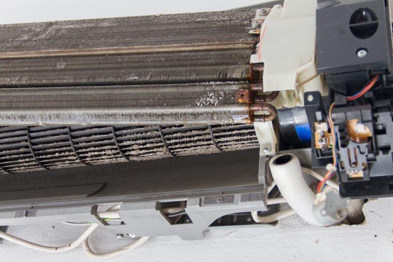 De vuile ventilator van de eekhoornkooi in airconditioner royalty-vrije stock afbeelding