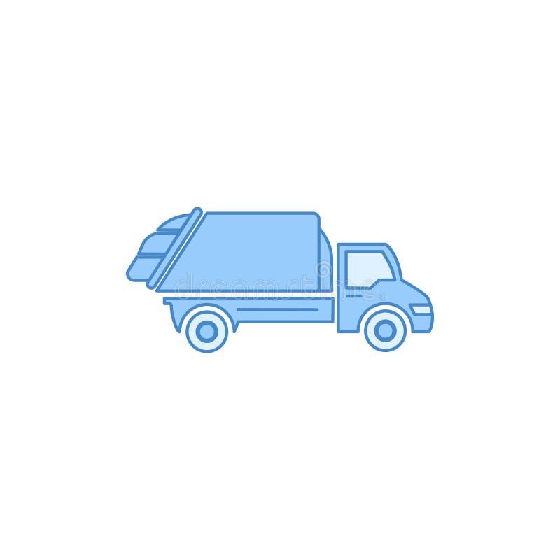 de vuilnisauto vulde overzichtspictogram Element van vervoerpictogram voor mobiel concept en Web apps Dunne lijnvuilnisauto gevul vector illustratie
