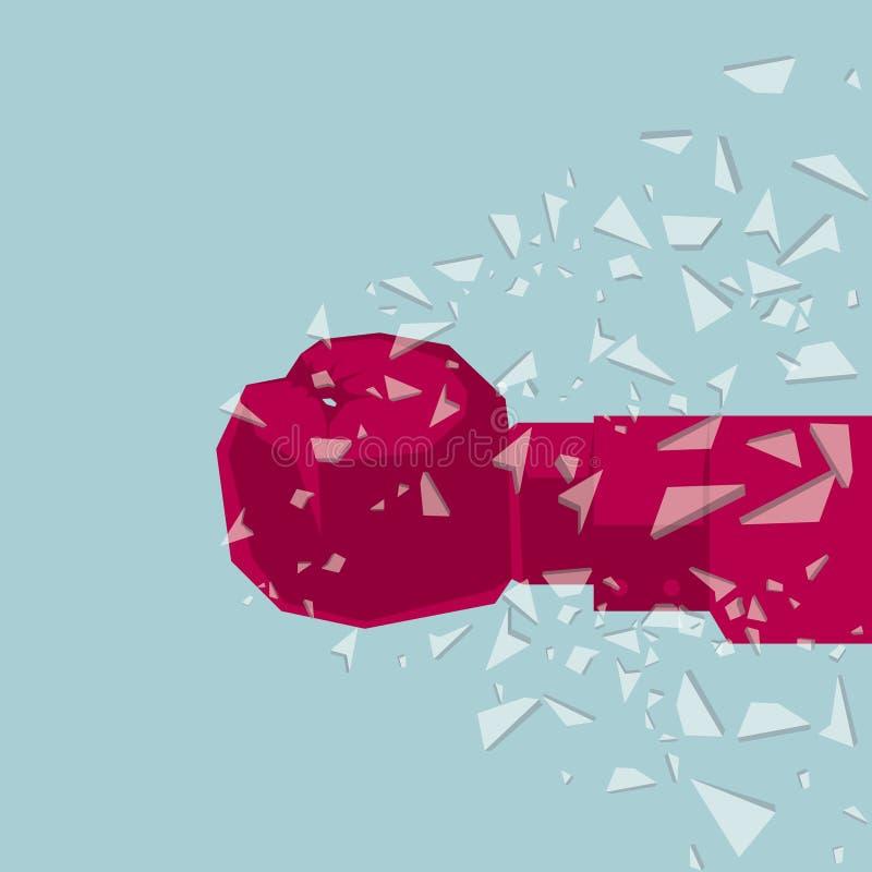 De vuist verpletterde het glas, het idee van geweld royalty-vrije illustratie