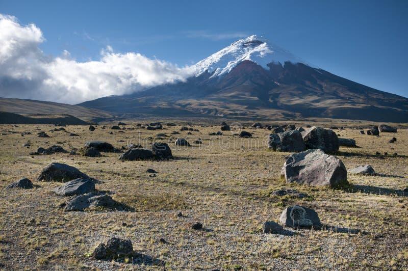De vulkaan van Cotopaxi in Ecuador stock foto