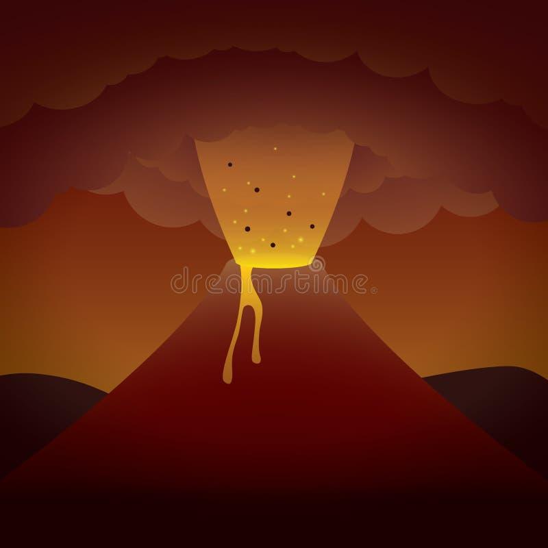 De vulkaan van Errupting royalty-vrije illustratie