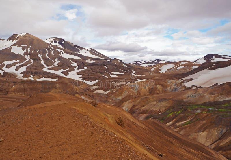 De vulkanische bergen van Colourfull rhyoliet Kerlingarfjöll in geothe royalty-vrije stock afbeelding