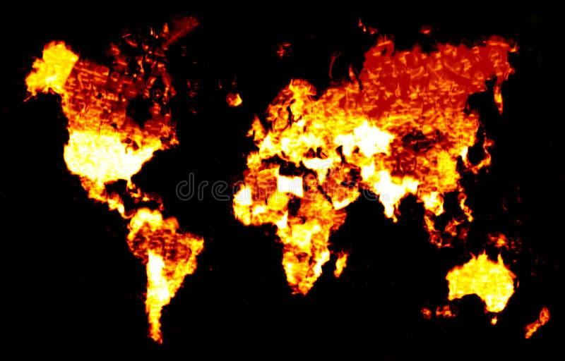 De vurige Illustratie van de Kaart van de Wereld royalty-vrije illustratie