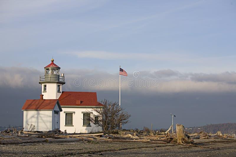De vuurtoren en de vlaggestok van Robinson van het punt stock fotografie