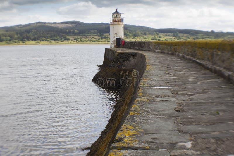 De vuurtoren in Loch Fyne stock afbeeldingen