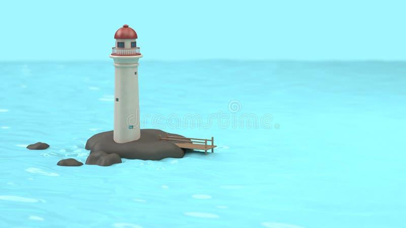 De vuurtoren-toren van de beeldverhaalstijl op rotseiland van blauwe wateroverzees, landschap aard-bouwend concept het 3d terugge royalty-vrije illustratie