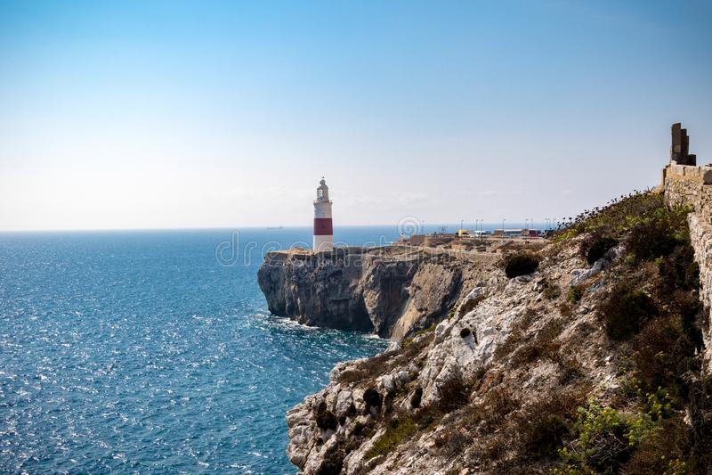 De Vuurtoren van het drievuldigheidshuis, Europa Punt, Gibraltar royalty-vrije stock afbeelding