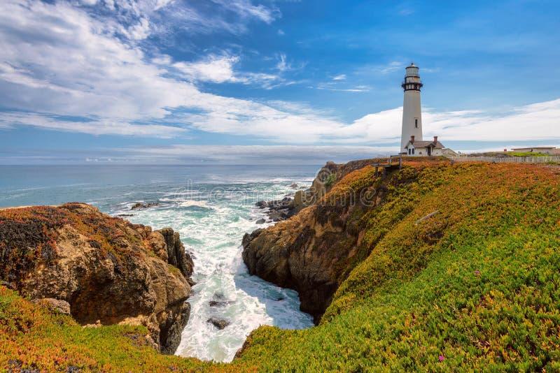 De Vuurtoren van het duifpunt, Vreedzame kustlijn in Californië royalty-vrije stock afbeeldingen