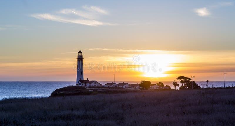 De Vuurtoren van het duifpunt in zonsondergang stock afbeeldingen