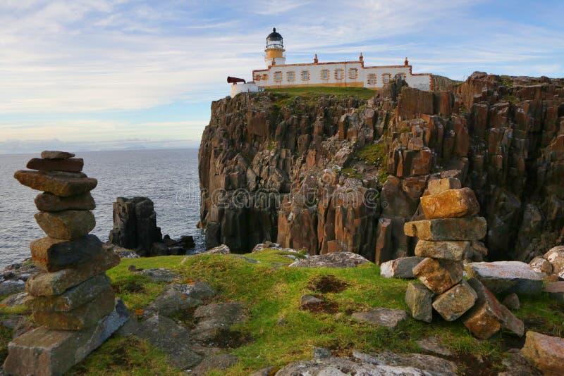 De Vuurtoren van het Neistpunt, Eiland van Skye, Schotland stock fotografie