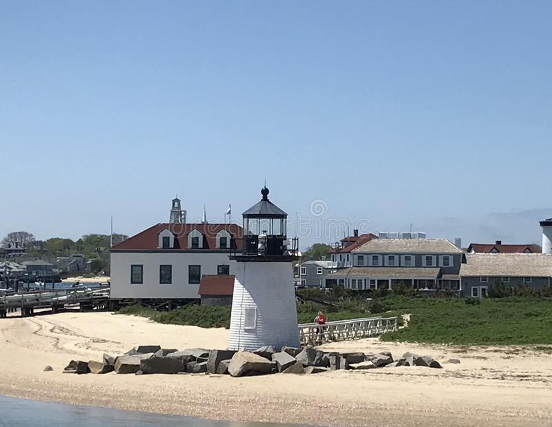 De Vuurtoren van het Punt van zwarte gans, Nantucket, doctorandus in de letteren stock afbeelding