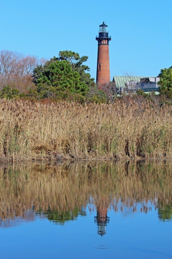 De vuurtoren van het Strand Currituck dichtbij Bloemkroon, Noord-Carolina vert stock afbeeldingen