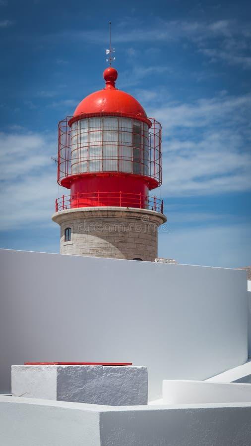 De vuurtoren van kaapheilige Vincent in Algarve, Portugal stock afbeelding