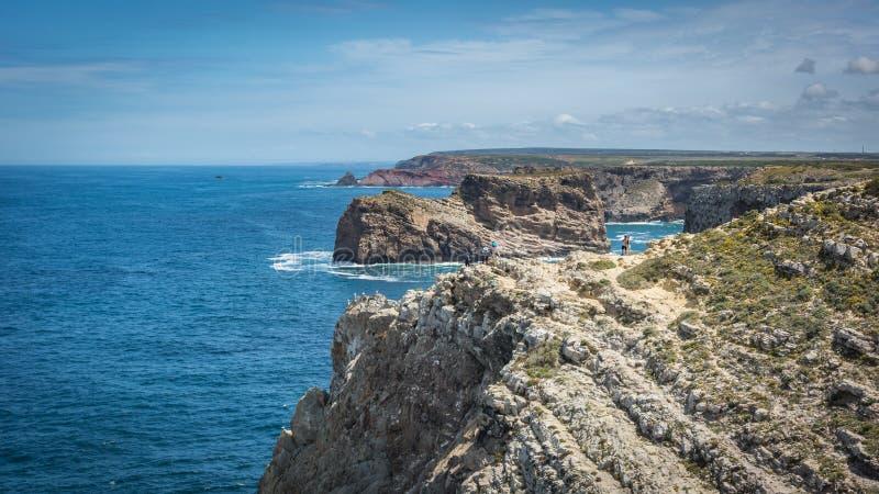 De vuurtoren van kaapheilige Vincent in Algarve, Portugal royalty-vrije stock foto's