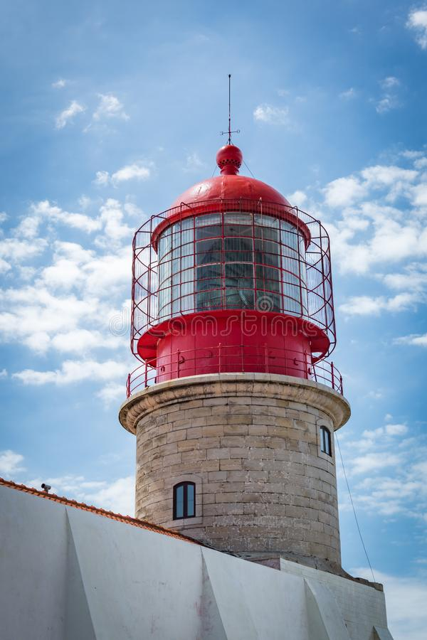 De vuurtoren van kaapheilige Vincent in Algarve, Portugal royalty-vrije stock afbeelding