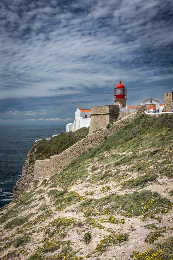 De vuurtoren van kaapheilige Vincent in Algarve, Portugal royalty-vrije stock afbeeldingen