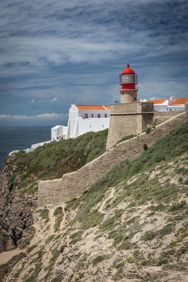 De vuurtoren van kaapheilige Vincent in Algarve, Portugal stock afbeeldingen