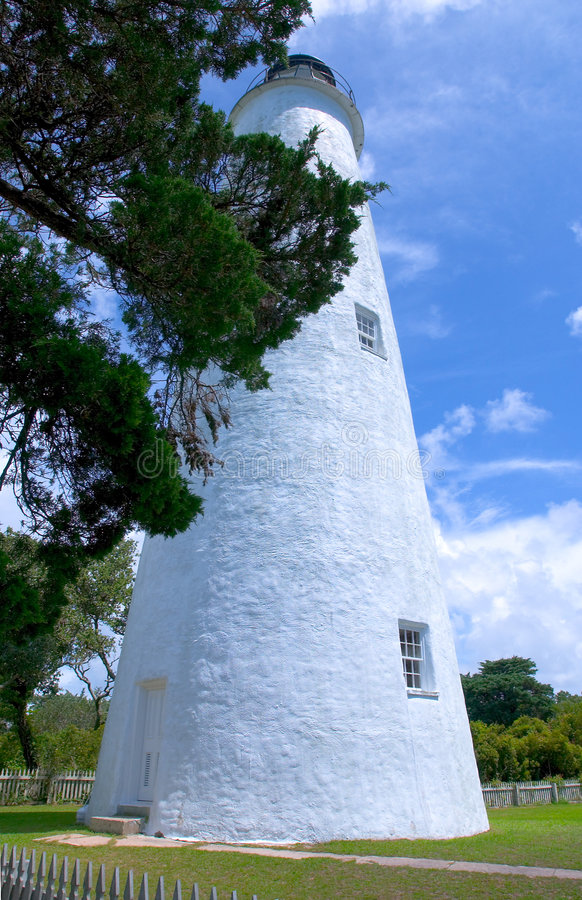De Vuurtoren van Ocracoke, Noord-Carolina stock foto