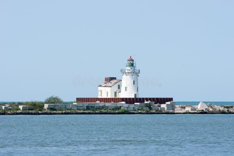 De Vuurtoren van Pierhead van het Westen van de Haven van Cleveland stock afbeelding