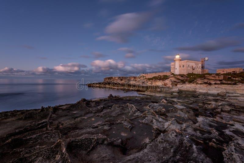 De Vuurtoren van de Puntamarsala, Favignana Sicilië Italië stock foto
