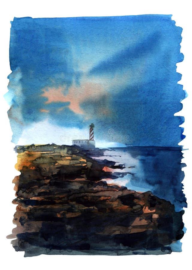 De vuurtoren van de waterverfillustratie op het kust kleurrijke geïsoleerde voorwerp op witte achtergrond voor reclame royalty-vrije illustratie