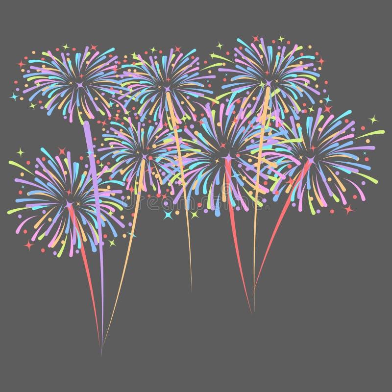 De vuurwerkraket explodeert in gekleurde sterren Ontwerpelement op donkere achtergrond wordt geïsoleerd die abstracte vectorillus stock illustratie
