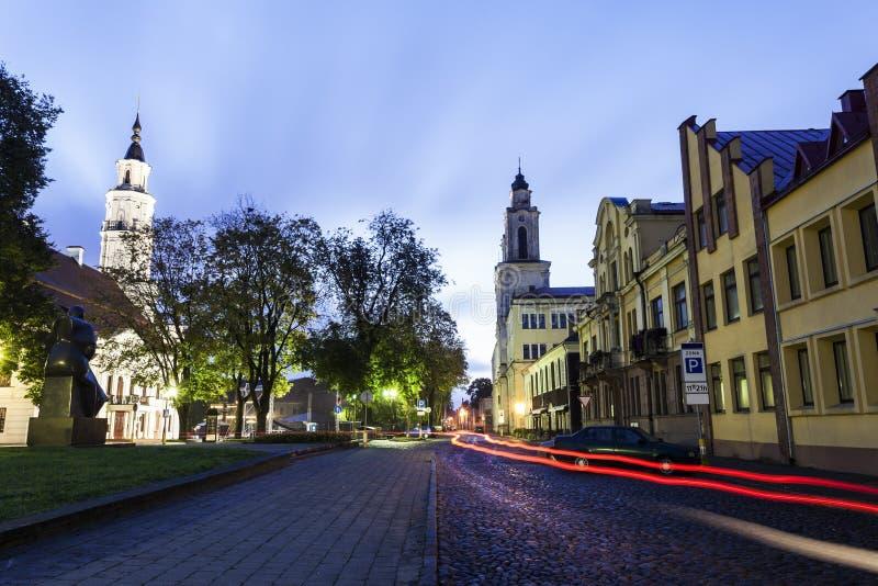 ` De Vytautas la gran iglesia y el ayuntamiento Kaunas, Lituania foto de archivo