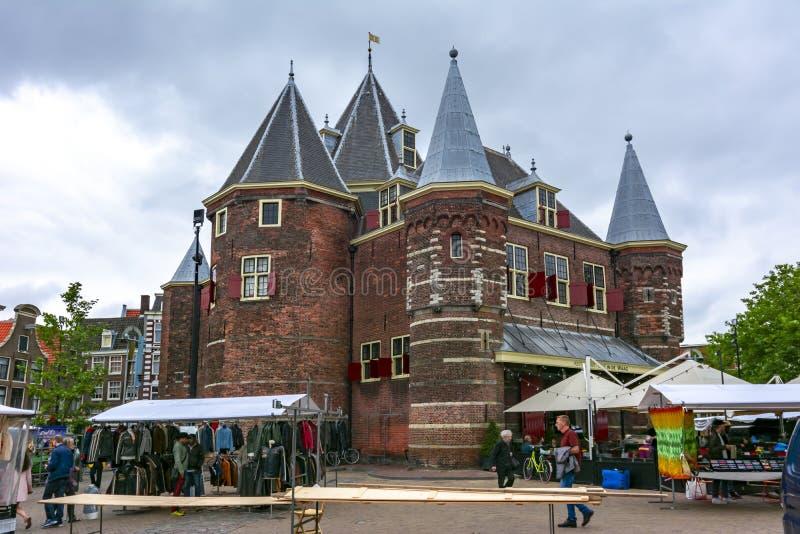 De Waag在阿姆斯特丹,荷兰称房子 库存图片