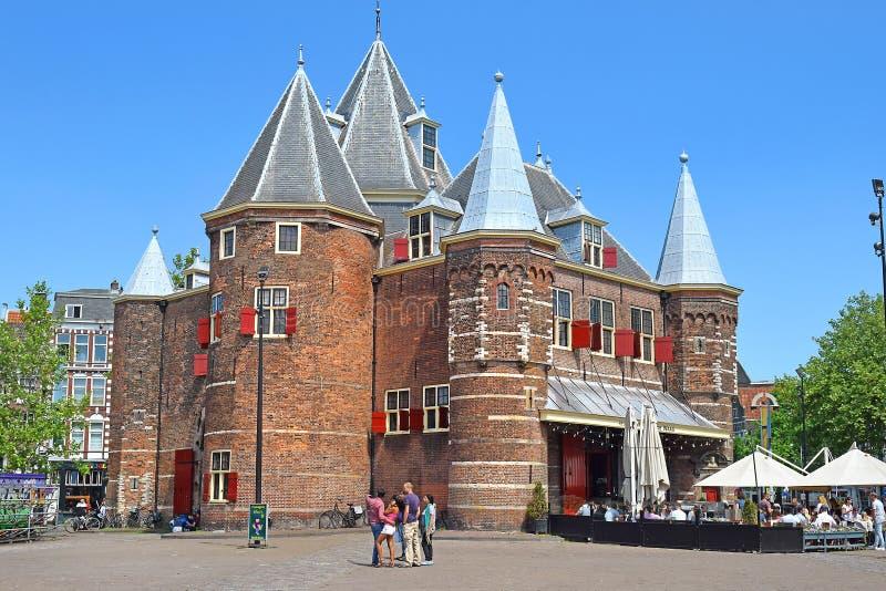 DE Waag weegt huis, Amsterdam, Nederland stock afbeelding