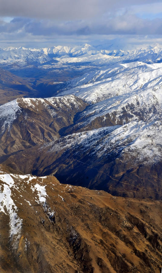 De Waaier van de kroon, Antenne, Otago, Nieuw Zeeland royalty-vrije stock foto's