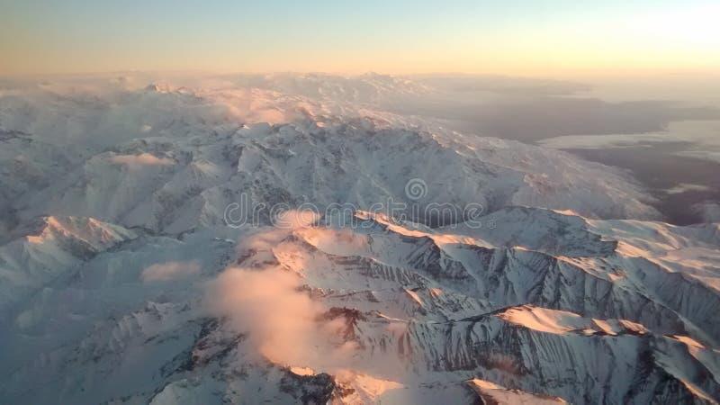De Waaiermening van de Andes met de zonsopgang - Chili royalty-vrije stock fotografie