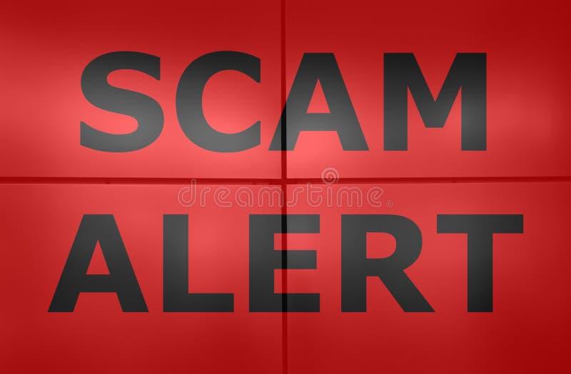 De waakzame tekst van Scam op rood royalty-vrije stock fotografie