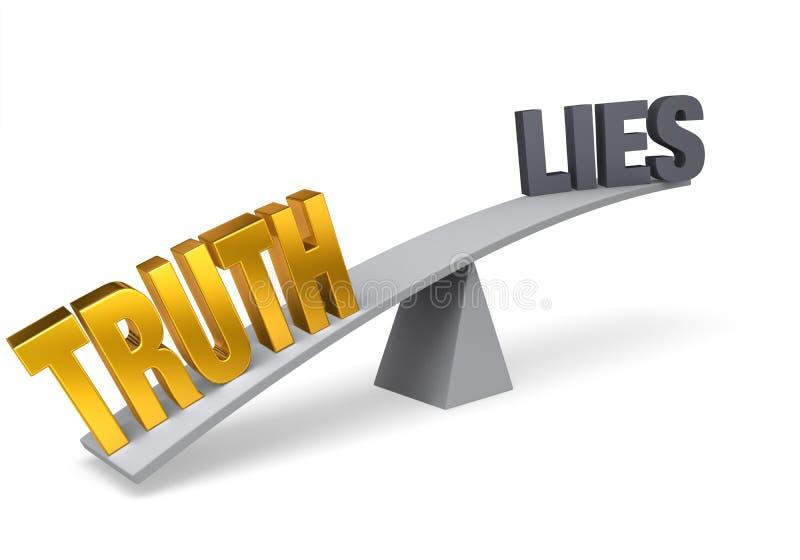 De waarheid is belangrijker dan Leugens vector illustratie