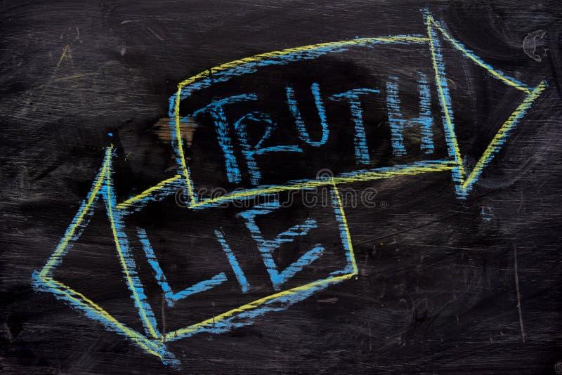 De waarheid of ligt met het concept van het kleurenkrijt op het bord wordt geschreven dat royalty-vrije stock afbeelding