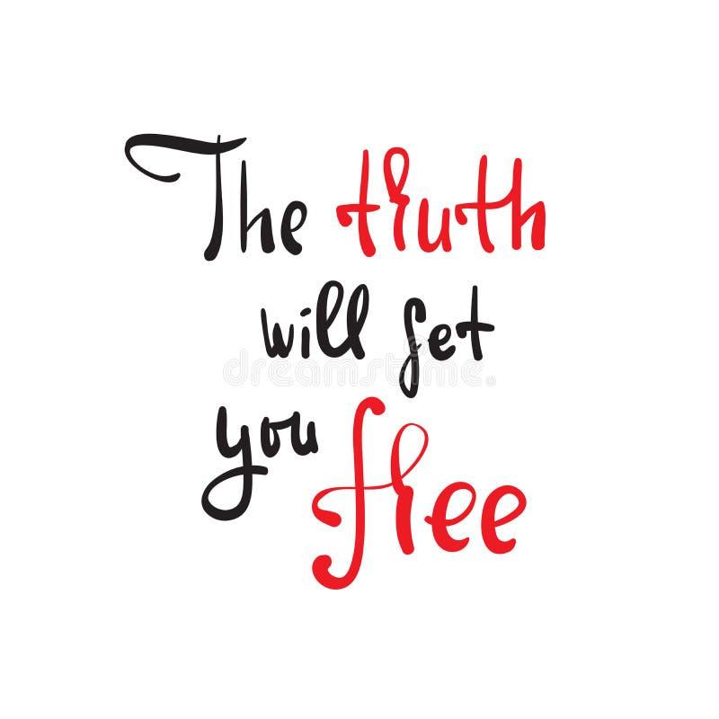 De waarheid zal u vrijgeven - godsdienstig inspireer en motievencitaat Hand het getrokken mooie van letters voorzien stock foto