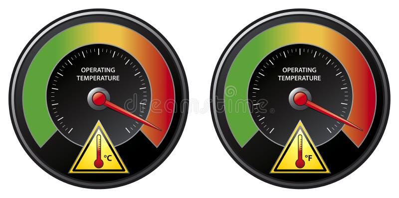 De waarschuwing van de oververhitting vector illustratie