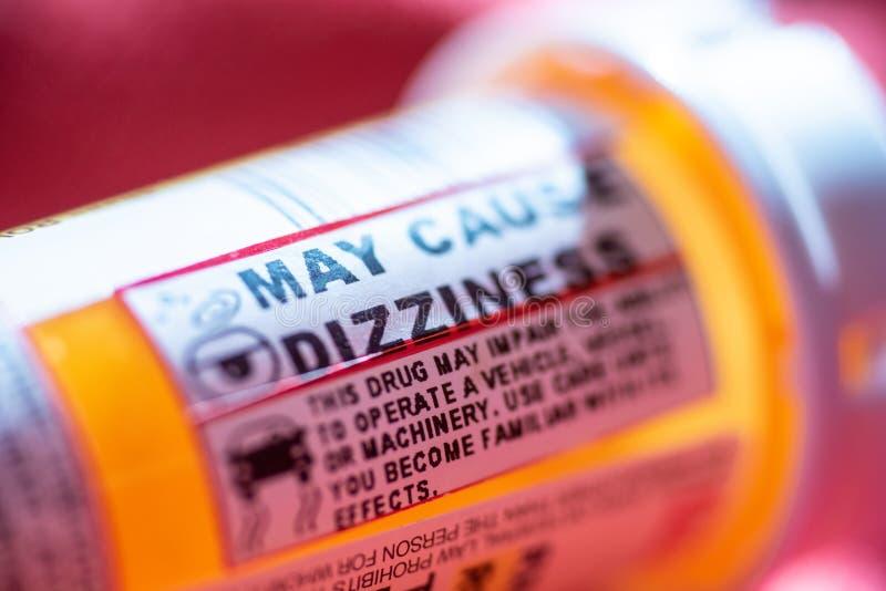 De waarschuwingen van de pillenfles stock foto