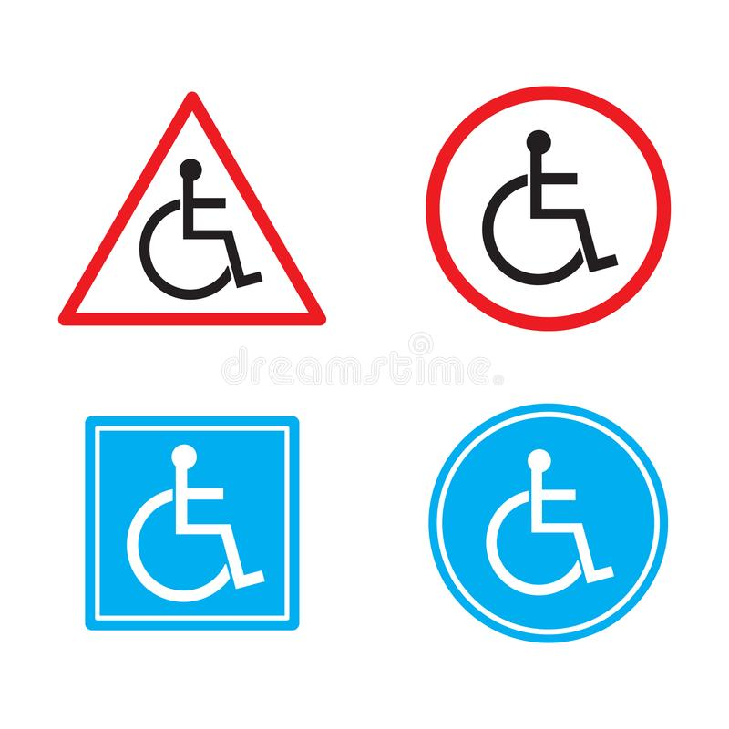 De waarschuwingsgehandicapten ondertekenen de vlakke reeks van het symbool vectordiepictogram op witte achtergrond wordt geïsolee royalty-vrije illustratie