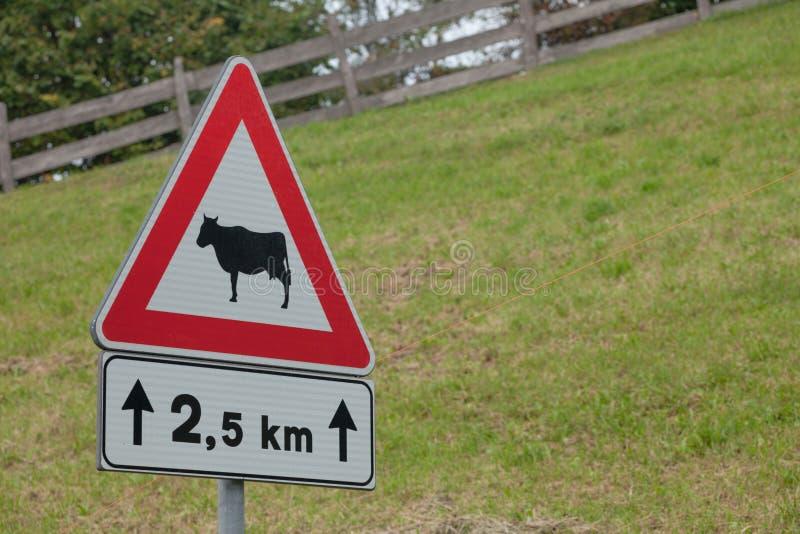 De waarschuwingsverkeersteken voor dierlijke aanwezigheid snakken een Italiaanse bergstraat stock afbeelding