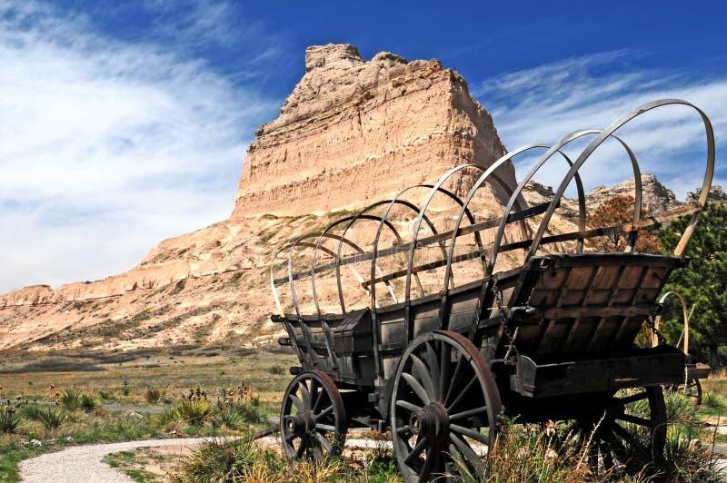 De wagen van Conestoga in Scotts Bluff stock foto