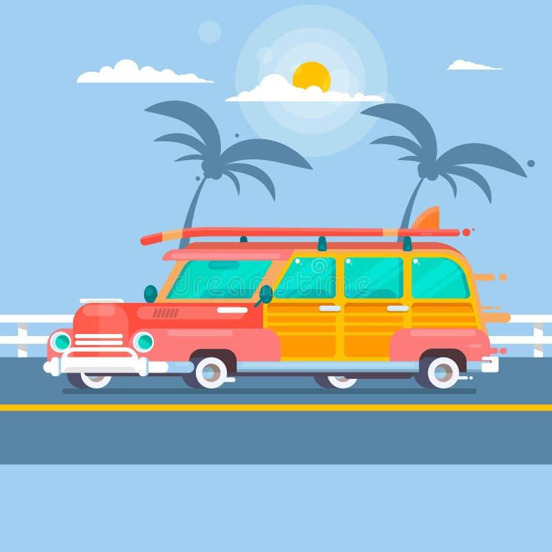 De wagen van de Woodiebranding op de zomerachtergrond met palmen vector illustratie
