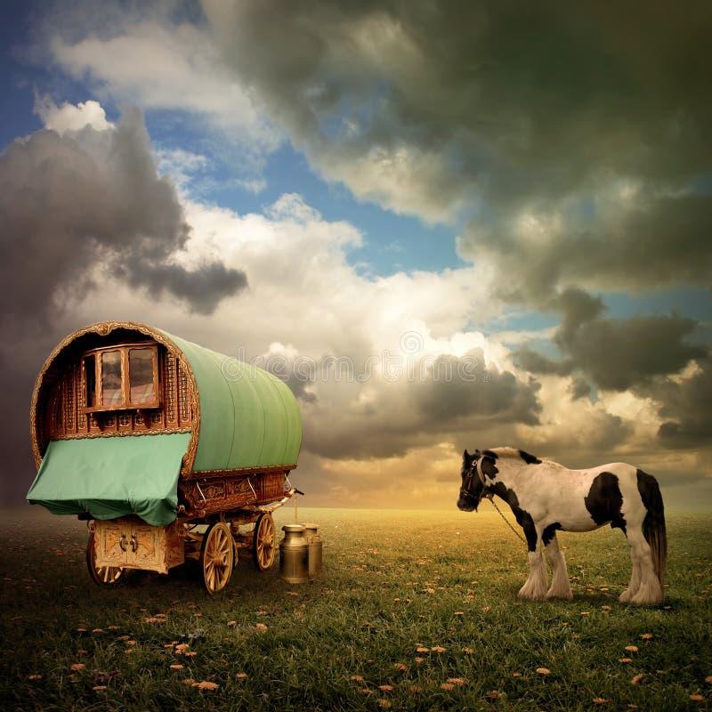 De Wagen van de zigeuner, Caravan stock foto's