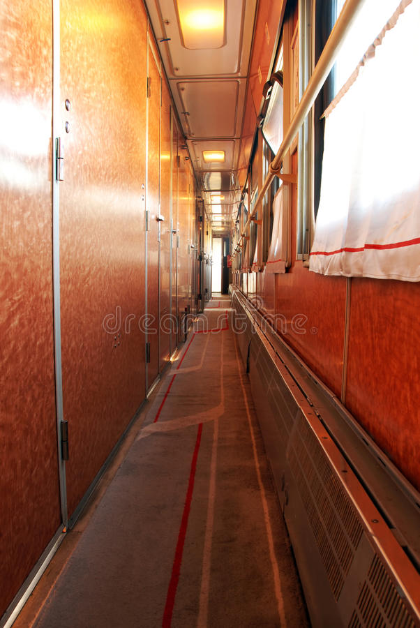 De wagengang van de trein stock foto