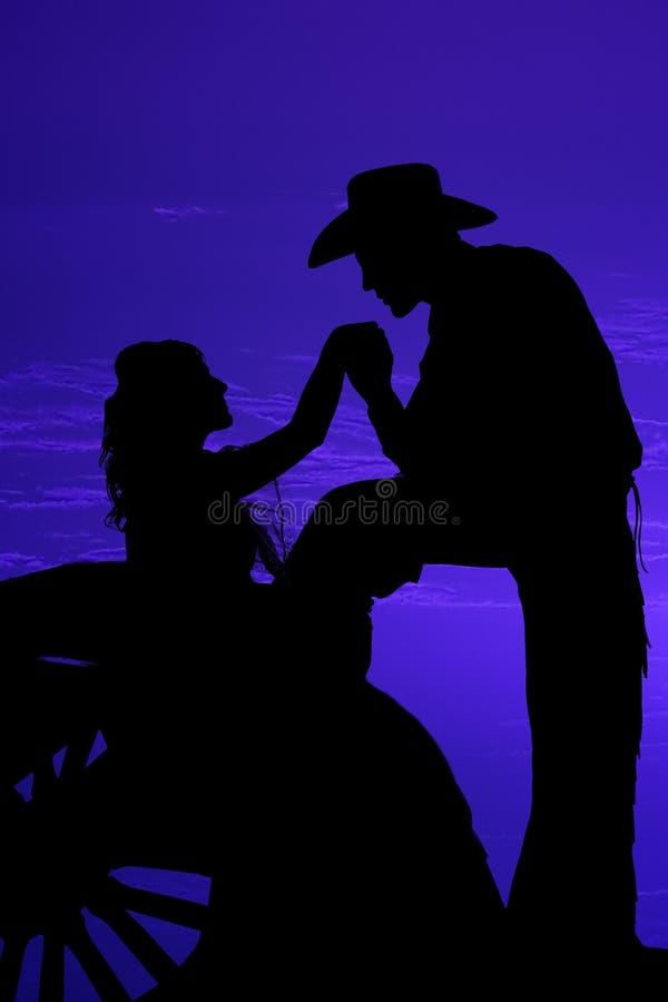 De wagenwiel van het silhouet