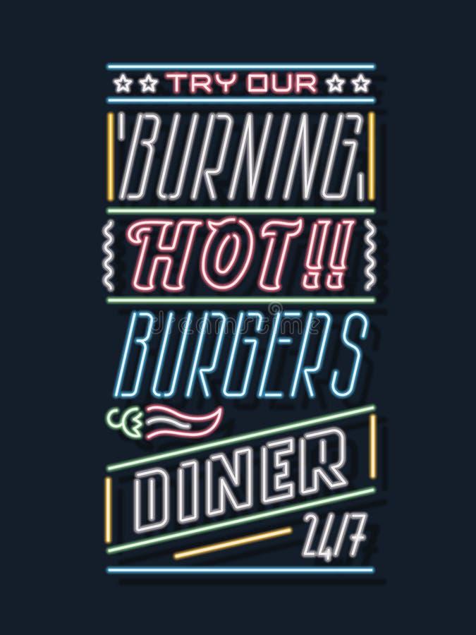 De wagon-restaurant enseigne au néon de maison d'hamburger  illustration libre de droits