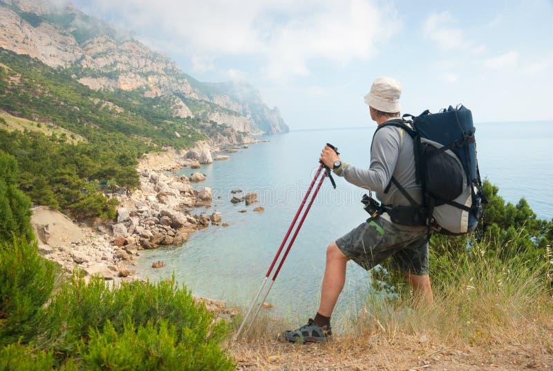 De wandelaar geniet van landschap stock afbeelding