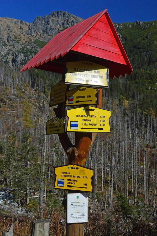 De wandelaars voorzien in Hoge Tatra-bergketen van wegwijzers royalty-vrije stock foto