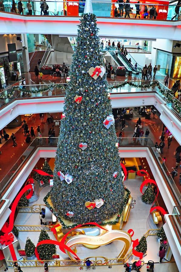 De wandelgalerij van de het festivalgang van de kerstboom, Hongkong stock fotografie
