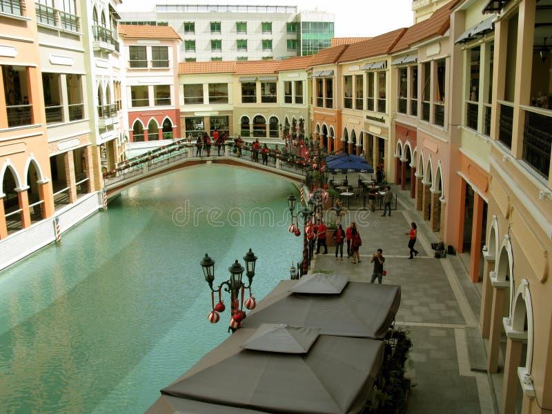 De Wandelgalerij van Venetië Grand Canal, Taguig, Metro Manilla, Filippijnen stock foto
