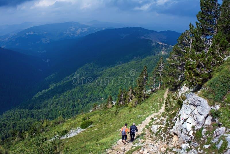 De Wandeling van de berg stock afbeelding